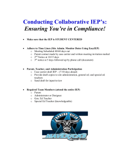 Conducting Collaborative IEP`s