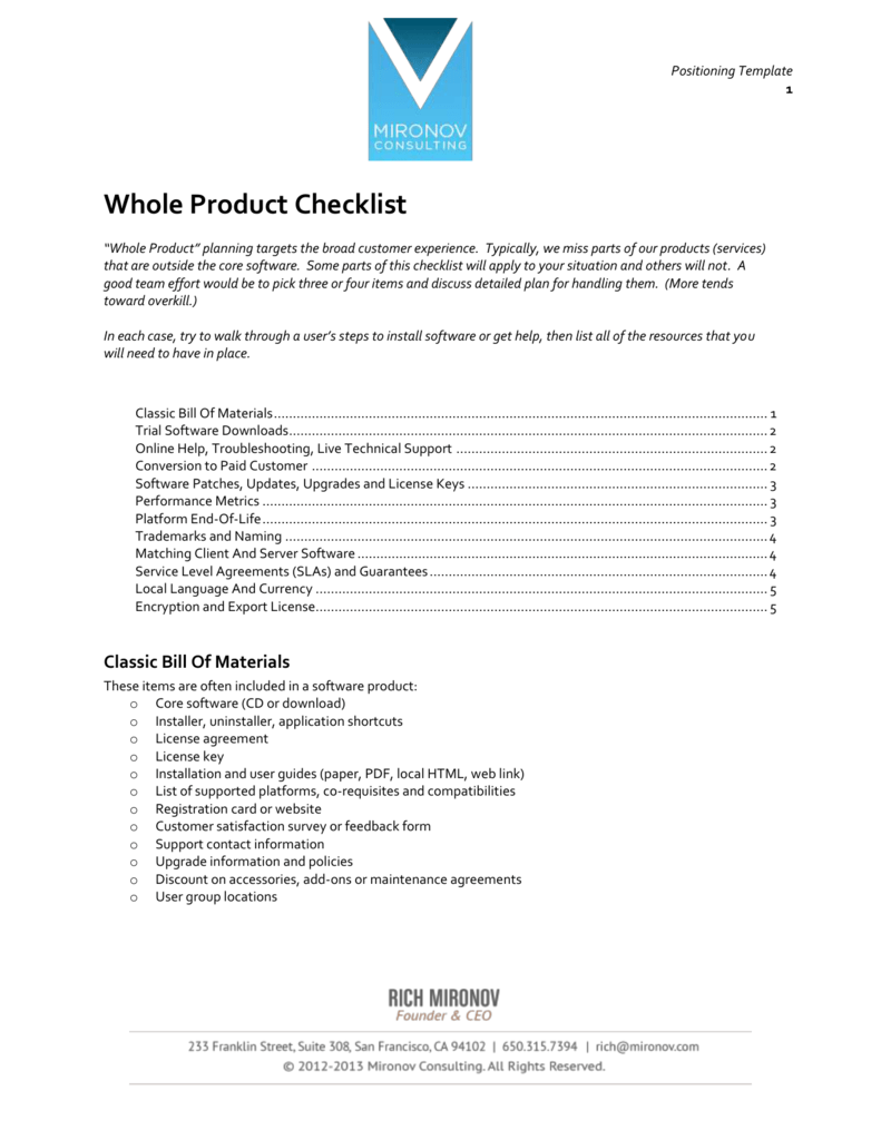 Whole Product Checklist