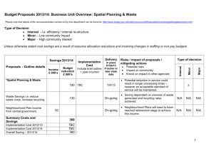 Budget Proposals: Business Unit Overview