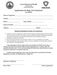 Required Submittals for Body Art Technicians