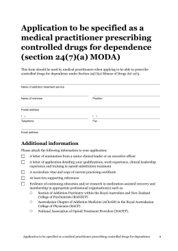 Application to be specified as a medical practitioner prescribing