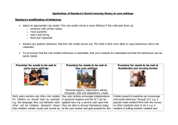 Application of Bandura`s Social Learning theory to care settings