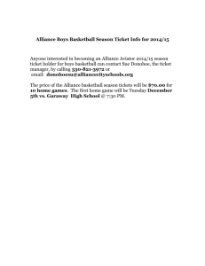 Alliance Boys Basketball Season Ticket Info for 2014/15