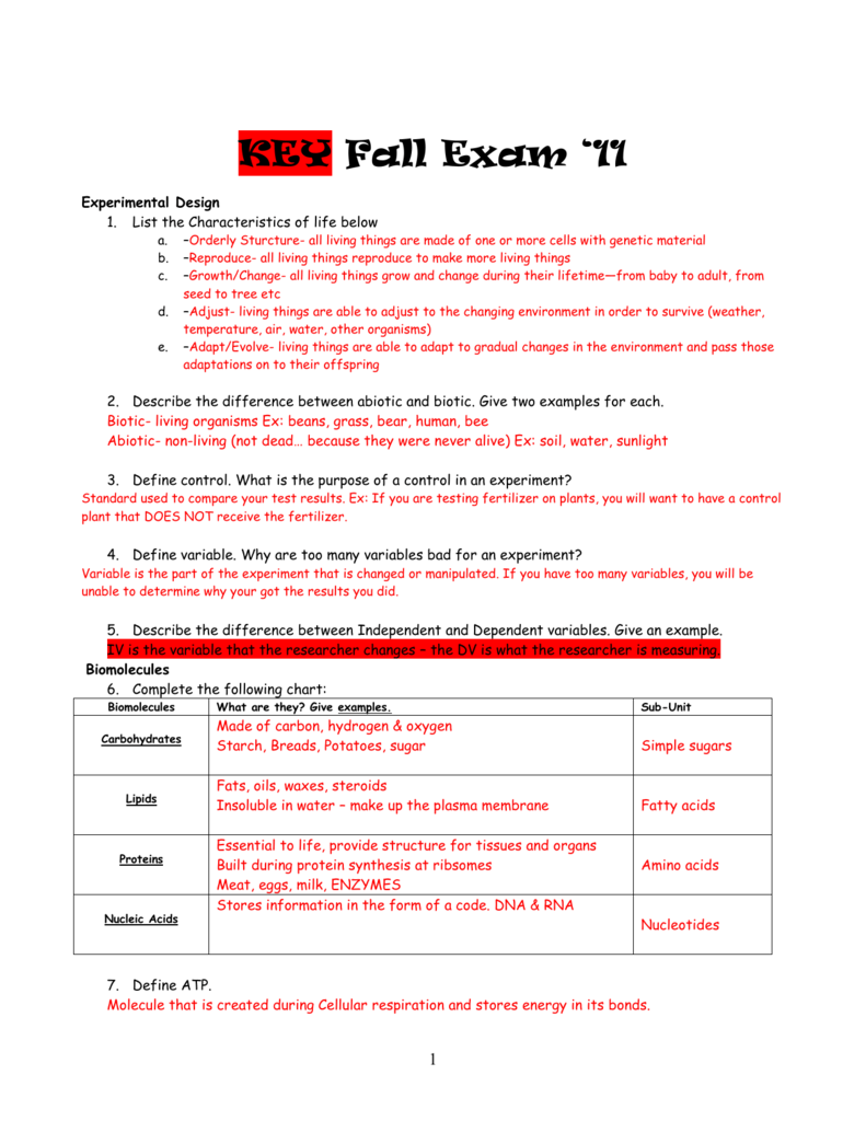 Key Fall Exam 11