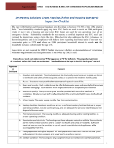 DHCD ESG Housing & SHELTER Standards Inspection Checklist