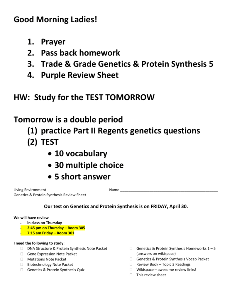 Genetics Review Sheet Answers