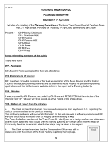 Minutes of the Planning Committee meeting held on Thursday 19th