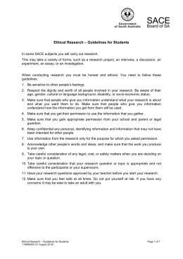 Ethical research - guidelines for students