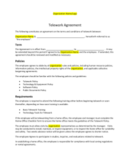Telework Agreement - Telecommuting agreement template