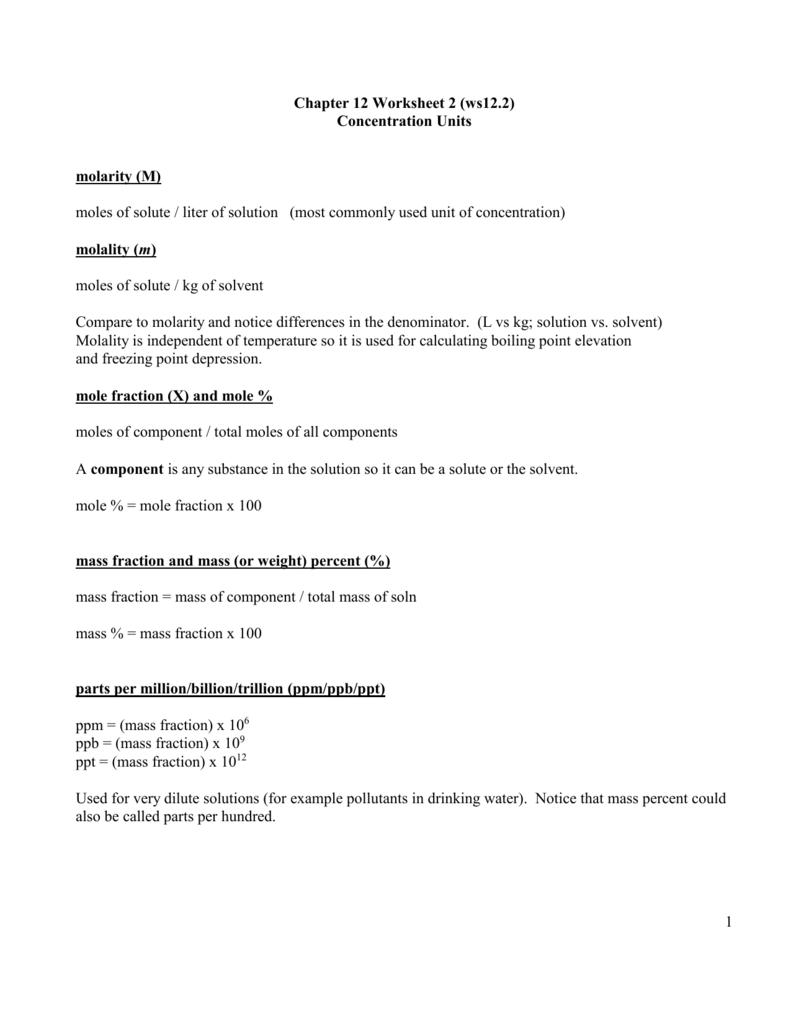 worksheet Solution Concentration Worksheet key to ws12 2