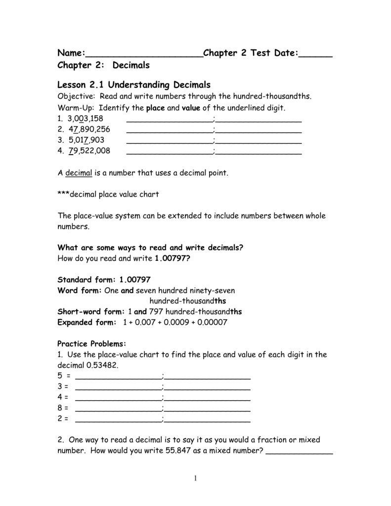 Worksheet Round To The Place Value Of The Underlined Digit chapter two notes