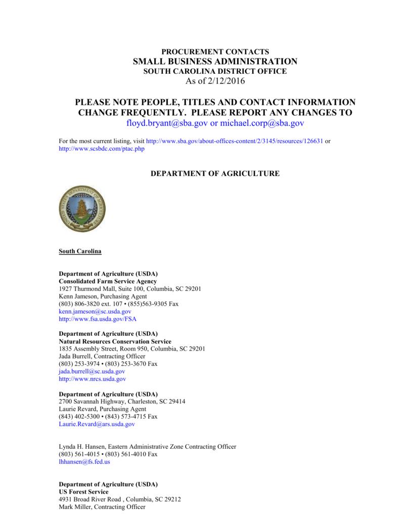Agency Contact List - South Carolina Small Business Development