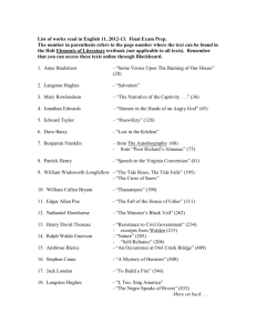 List of works read in English 11, 2012-13