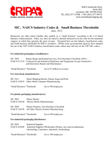 SIC & NAICS Codes for Reconditioners, Manufacturers and