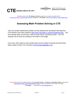 Assessing Math Problem Solving in CTE