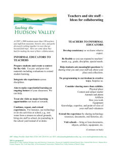 Ideas for Collaborating - Teaching the Hudson Valley