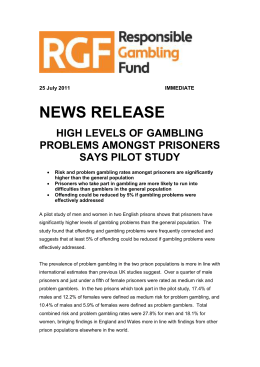 High levels of gambling problems amongst prisoners says pilot study
