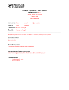 Faculty of Engineering Course Syllabus