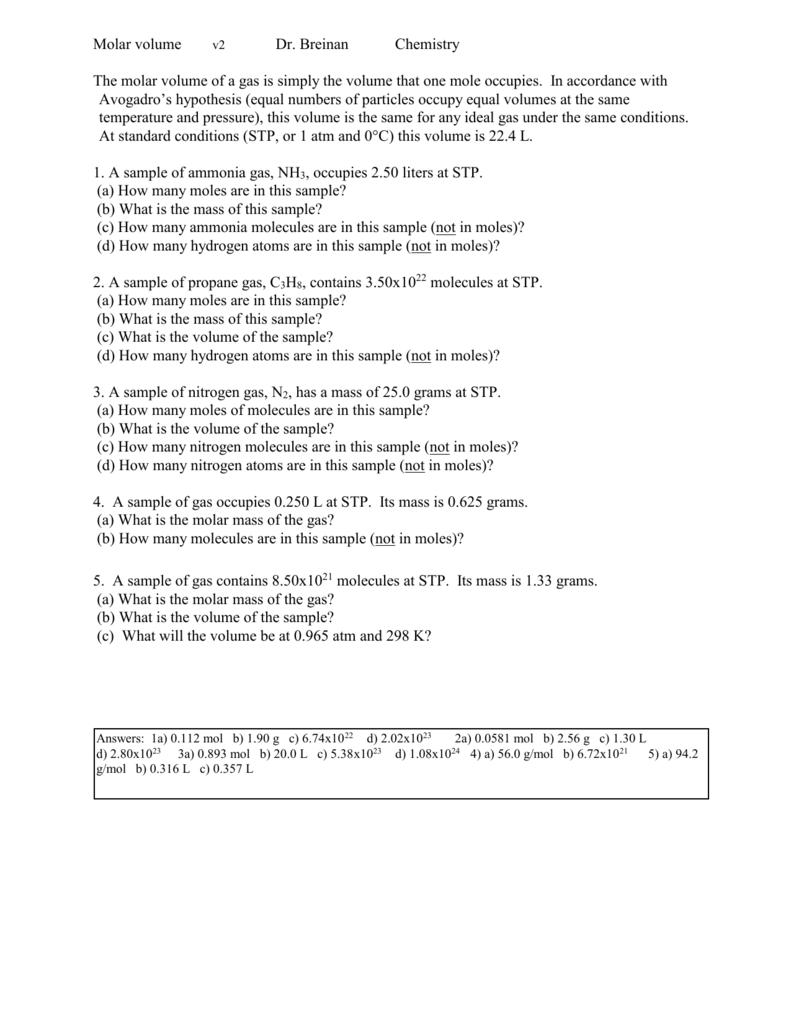worksheet Molar Volume Worksheet Answers chapter 1 expectationstopics
