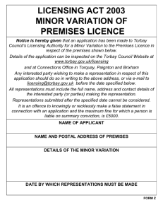 Site Notice Minor Variation Premises Licence