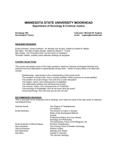 SOC 302: Sociological Theory - Minnesota State University Moorhead