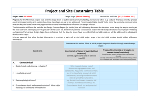 Project and Site Constraints Table