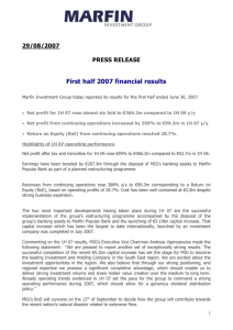 First half 2007 financial results
