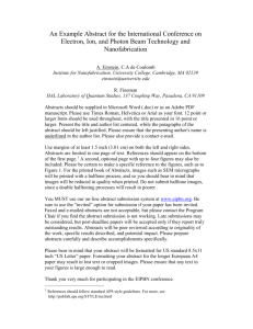 An Example Abstract for the International Conference on Electron