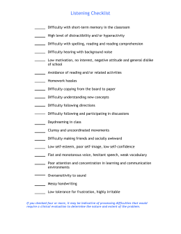 checklist and symptom sheet