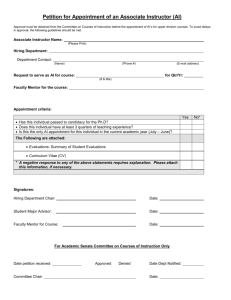 Associate Instructor Petition