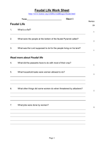 Feudal Life Work Sheet - to go to the Westfields Sports Intranet