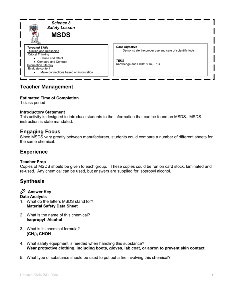 Worksheets Msds Worksheet answer key for msds worksheet