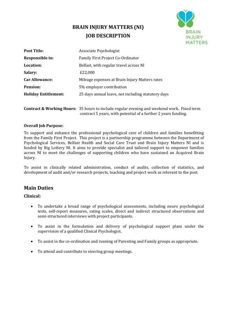 Psychologist Job Description | Job Description