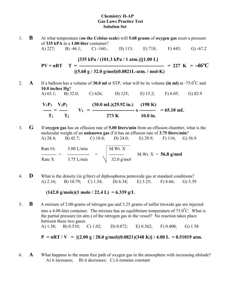 Gas Laws Practice Test.Ans.Key