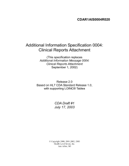Additional Information Specification 0004: Clinical Reports Attachment