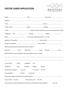 Foster Carer Application Form 2012