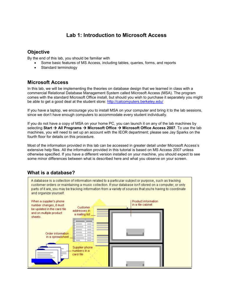 Lab 1: Introduction to Microsoft Access