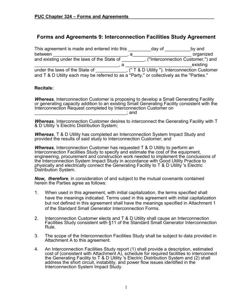 Forms And Agreements 9 Interconnection Facilities Study Agreement
