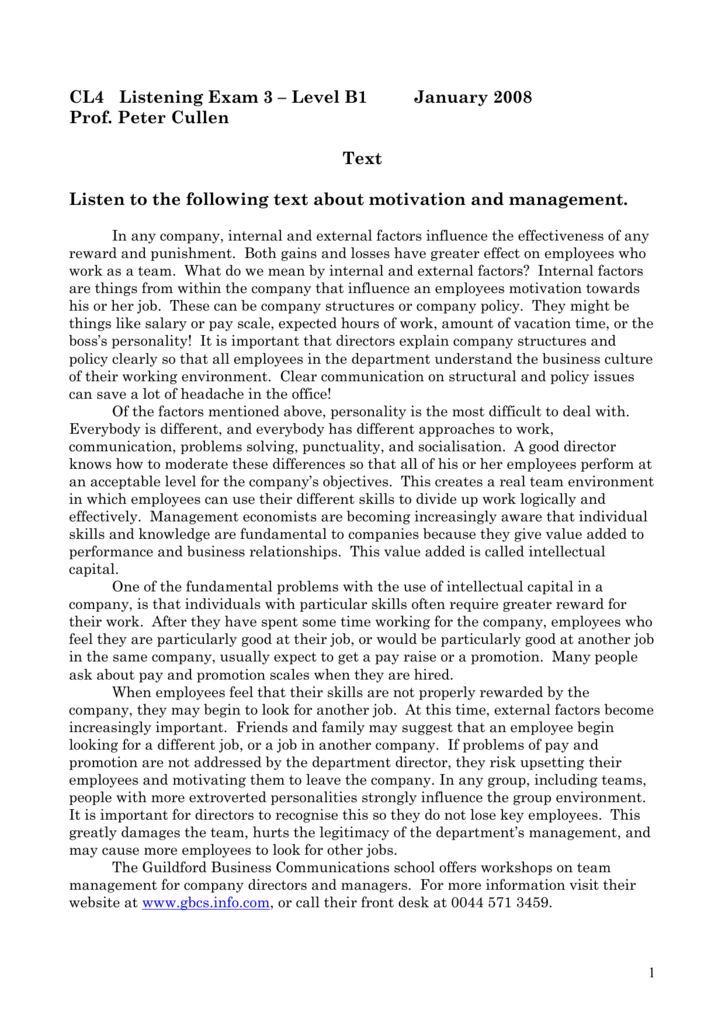 CL4 Listening Exam 1 – Level B1