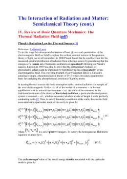 The Interaction of Radiation and Matter: Semiclassical Theory (cont