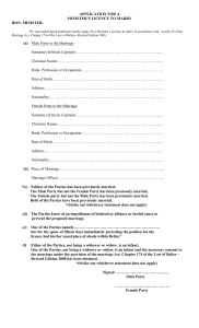 Application for a Minister`s Licence to Marry