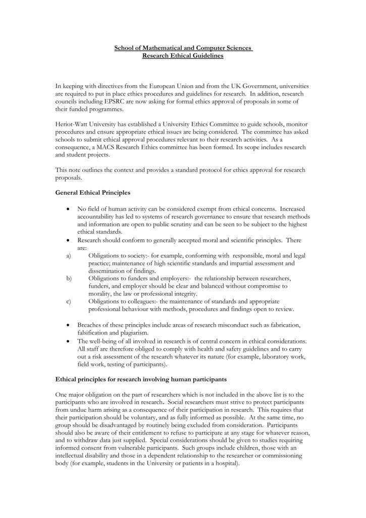 Ethics Form Mathematical Computer Sciences Heriot
