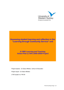 UWS Learning and Teaching Action Plan Projects
