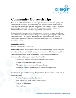 Community Outreach Guide - American College of Allergy, Asthma