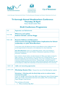 Headteachers Conference agenda