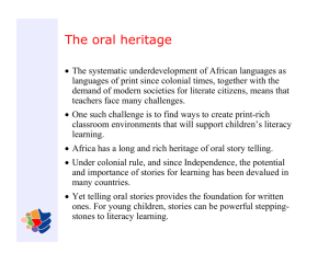 The oral heritage