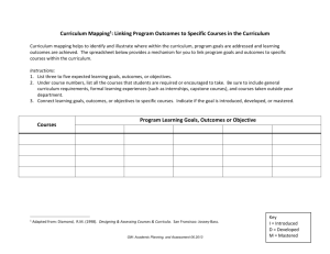 Curriculum Mapping Worksheet