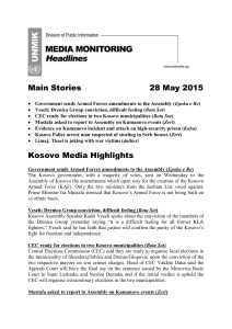 Headlines – 28.05.2015 - UNMIK Media Monitoring
