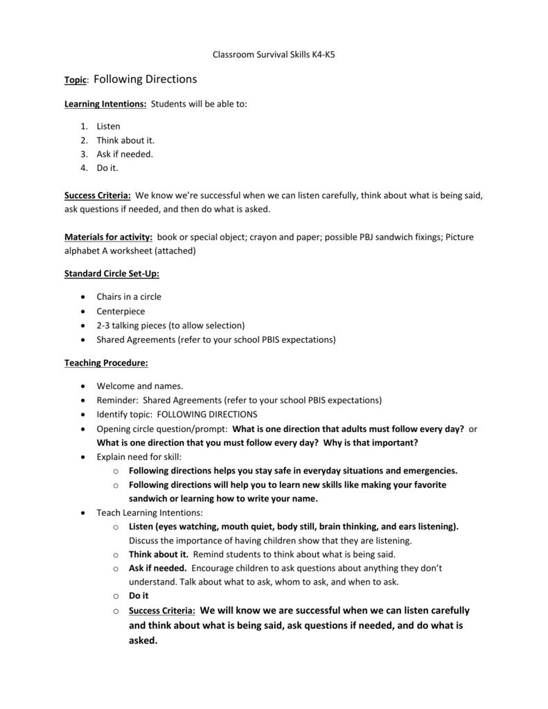 Classroom Survival Skills – K4-K5