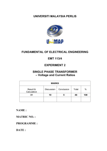 Experiment 2 - Single Phase Transformer